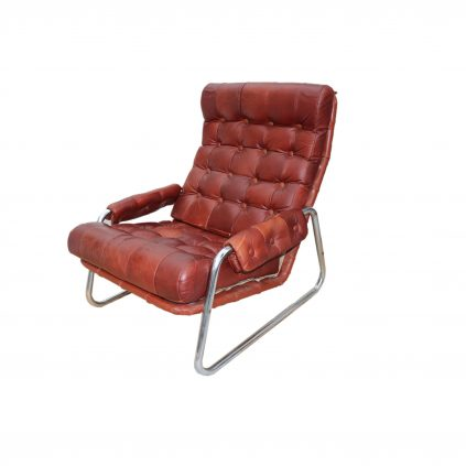 70luvun tanskalainen nahkainen nojatuoli