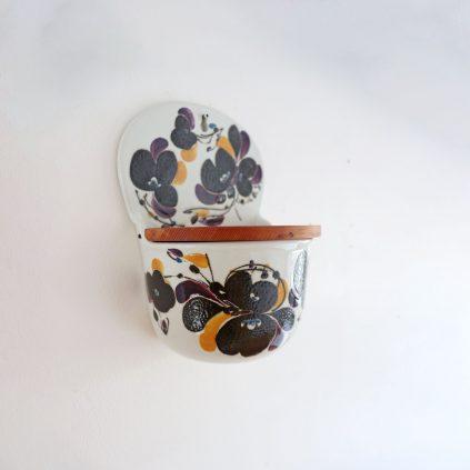 Royal Copenhagen Fajance suola-astia kukkakuvioilla