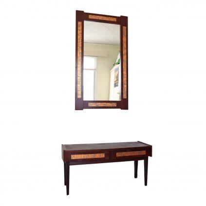 palisanteri-kupari lipasto ja peili 60-luvulta